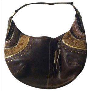 Coach Pebbled Leather Embellished Brown Hobo Bag